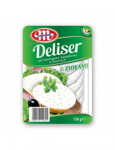 DELISER. Serek twarogowy z ziołami 14% tłuszczu plastry 150 g